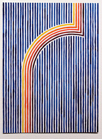 Jason Urban, Stripes (Loud Rainbow). Ink on paper, 14x10 inches. Courtesy of the artist and Wally Workman Gallery.