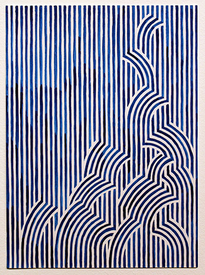 Jason Urban, Stripes (Rapids). Ink on paper, 14x10 inches. Courtesy of the artist and Wally Workman Gallery.