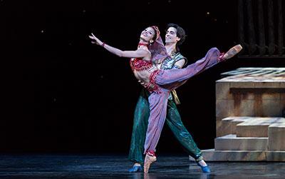 Houston Ballet's Joseph Walsh and Karina Gonzalez in David Bintley's Aladdin Photo by Amitava Sarkar.