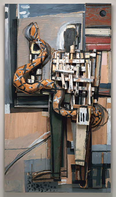 David Bates Man with Snake, 1995 Painted wood 88 x 49 ¾ x 14 ½ inches Collection of the Modern Art Museum of Fort Worth, Museum purchase, Sid W. Richardson Foundation Endowment Fund  Acquired in 1996 Photo by Tom Jenkins
