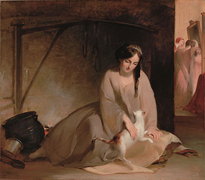 Thomas Sully  American, born England, 1783 – 1872  Cinderella at the Kitchen Fire, 1843  Oil on canvas, 50 × 58 in. (127 × 147.3 cm)  Dallas Museum of Art, gift of the Pauline Allen Gill Foundation, 2005.1