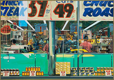 Richard Estes (b. 1932)  Food City, 1967  Oil on Masonite © Richard Estes, courtesy Marlborough Gallery, New York Akron Art Museum, Museum Acquisition Fund