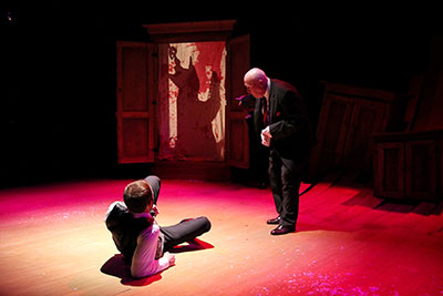 Adam Gibbs and Jame Belcher in Marlowe's Doctor Faustus at Classical Theatre Company.  Photo by Pin Lim.