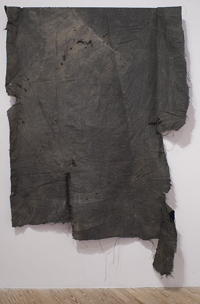 David Hammons, Tough Love, 2013. Canvas, mixed media. 111 x 94 inches. Courtesy the artist.