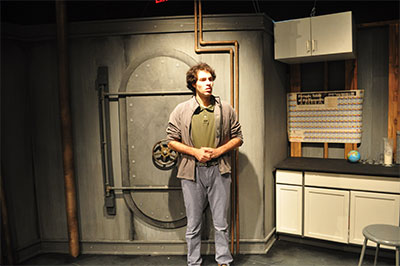 Jordan Jaffe in Black Lab Theatre's production of boom. Photo by Rick Jaffe.