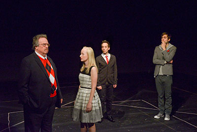 Robert Ousley, Danielle Pickard, Blake Hackler and Justin Locklear  in Second Thought Theatre's production of COCK. Photo by Kay Almond.