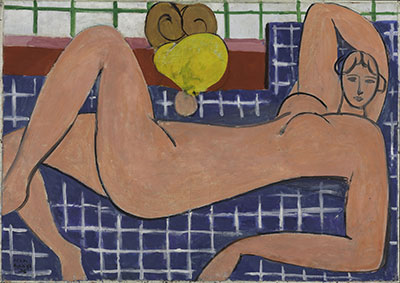 Henri Matisse French, 1869-1954 Large Reclining Nude, 1935 Oil on canvas; h. 26 1/8 in. (66.4 cm), w. 36 3/4 in. (93.3 cm) The Baltimore Museum of Art: The Cone Collection, formed by Dr. Claribel Cone and Miss Etta Cone of Baltimore, Maryland, BMA 1950.258 Photography by Mitro Hood ©2014 Succession H. Matisse / Artists Rights Society (ARS), New York.