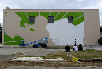 An early stage of The People's Plate, a mural by Otabenga Jones & Associates at the Lawndale Art Center. Photo: Devon Britt-Darby.