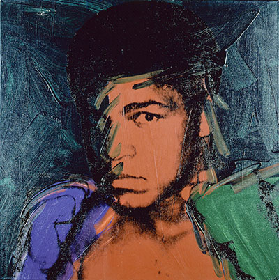 Andy Warhol Muhammad Ali, 1978 Synthetic polymer and silkscreen ink on canvas h. 40 in. (101.6 cm); w. 40 in. (101.6 cm)  Collection of Richard Weisman.