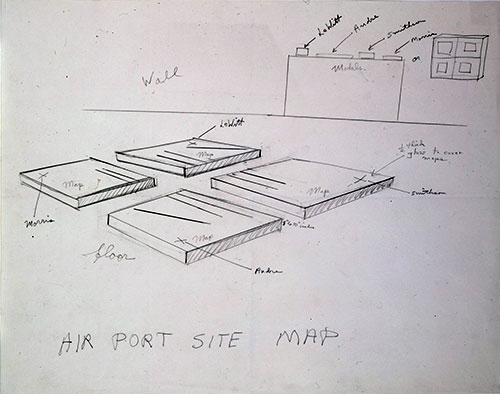Robert Smithson Airport Site Map, c. 1967 Pencil on paper 19 x 24 in. (48.26 x 60.96 cm) Collection of the Modern Art Museum of Fort Worth, Gift of the Estate of Robert Smithson © Estate of Robert Smithson.