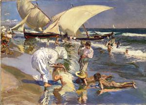 Joaquín Sorolla y Bastida (Spanish, 1863-1923), Beach of Valencia by Morning Light, 1908, oil on canvas. The Hispanic Society of America, New York, A2137.