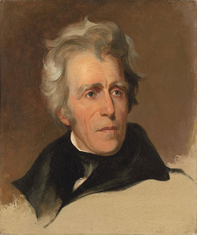 Thomas Sully American, born England, 1783–1872  Andrew Jackson, 1845  Oil on canvas, 20 3 ⁄8 × 17 1⁄4 in. (51.8 × 43.8 cm)  National Gallery of Art, Washington, Andrew W. Mellon Collection, 1942.8.34. Image courtesy of the National Gallery of Art, Washington