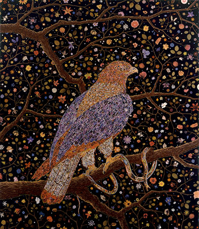 Fred Tomaselli Avian Flower Serpent, 2006 Leaves, photo collage, acrylic, gouache and resin on wood panel Overall: 84 x 72 1/2 in. (213.36 x 184.15 cm) Collection Glenn and Amanda Fuhrman NY, Courtesy The FLAG Art Foundation.