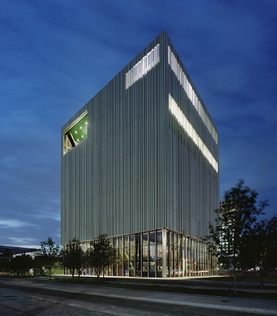 Wyly Theatre in Dallas Arts Districts.  Photo courtesy of the AT&T Performing Arts Center.