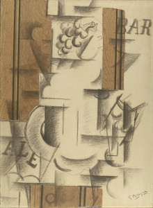 Georges Braque, Compotier et verre (Fruit Dish and Glass), September 1912, charcoal on paper, woodgrain pasted on paper, The Leonard A. Lauder Cubist Trust, New York. Image © Stinehour Photography. © 2014 Artists Rights Society (ARS), New York / ADAGP, Paris
