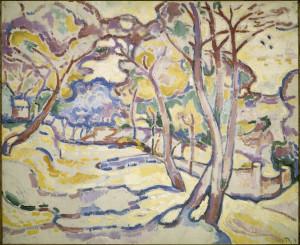 Georges Braque, Paysage de l'Estaque (L'Estaque Landscape), 1906, oil on canvas, Centre Pompidou, Musée national d'art moderne, Paris. © 2014 Artists Rights Society (ARS), New York / ADAGP, Paris