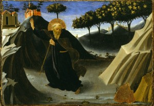 Fra Angelico, Saint Anthony Abbot Shunning the Mass of Gold, 1430s. Tempera and gold leaf on wood. Museum of Fine Arts, Houston, The Edith A. and Percy S. Straus Collection.