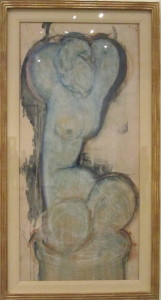 Amedeo Modigliani, Caryatid, c. 1914. Gouache and watercolor with chalk and graphite on wove paper. Museum of Fine Arts, Houston
