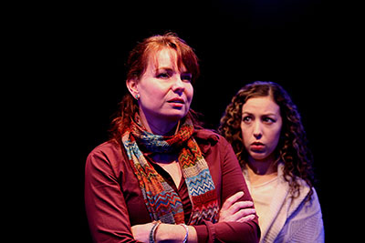 Sara Gaston and Lisa Villegas in Main Street Theater's production of Time Stands Still.  Photo by Forest Photography.