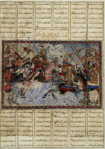 Single combat of Iskandar and Fur (Alexander and Porus) Miniature from the Demotte Shahnama Probably Tabriz (Persia), c. 1330 Ink, and pigments on paper 15 3/4 x 11 1/4 in. (40 x 28.5 cm) The Keir Collection of Islamic Art on loan to the Dallas Museum of Art