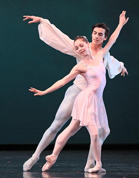 Melody Mennite and Joseph Walsh in Balanchine's  Ballo della Regina Photo by Amitava Sarkar.