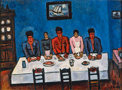 Marsden Hartley (1877–1943)  Fishermen's Last Supper, Nova Scotia, 1940-41  Oil on hardboard Collection Friends of the Neuberger Museum of Art, Purchase College, State University of New York, gift from the estate of Roy R. Neuberger.