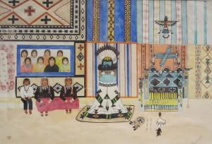 Pylen Hanaweaka North American Indian, Zuni Pueblo, 1902-1989 Interior of Shalako House, c. 1935 Tempera over pencil underdrawing on wove paper Museum of Fine Arts, Houston Gift of Miss Ima Hogg