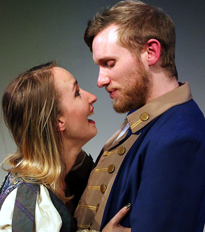Anastasia Munoz and Nick Moore in the Stage West production of Sarah Ruhl's Orlando Photo by Buddy Myers.