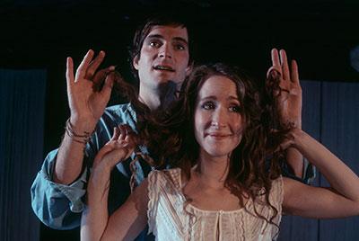 Anastasia Munoz and Jonathan Brooks in Undermain Theatre's production of Sarah Ruhl's Eurydice Photo by Katherine Owens.