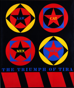 Robert Indiana, The Triumph of Tira, 1960-61. Oil on canvas. Sheldon Museum of Art, University of Nebraska–Lincoln, NAA-Nelle Cochrane Woods Memorial. ©2014 Morgan Art Foundation, Artists Rights Society (ARS), New York