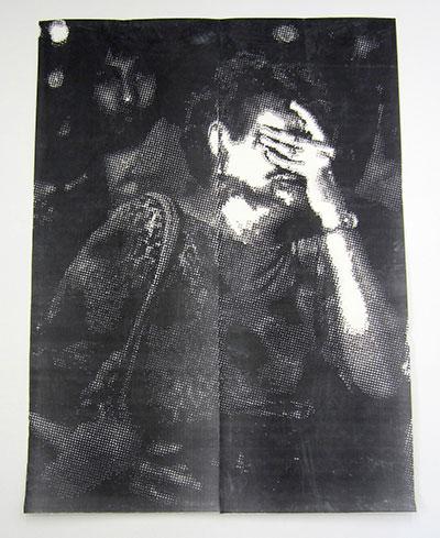 "Miguel Aragon La matanza del Centro Aliviane, 2014 Hand-drilled paper with layered Xerox 96"" x 71 Courtesy of the artist and Tiny Park."