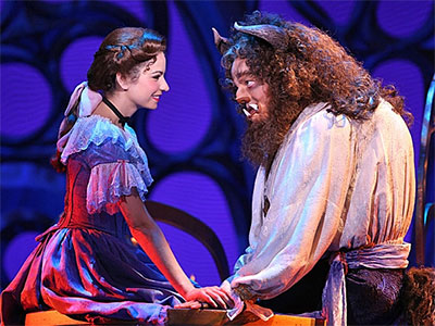 Hilary Maiberger as Belle and Darick Pead as the Beast in the national tour of Beauty and the Beast. Photo by Amy Boyle.