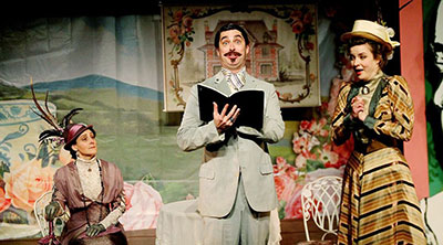 Pamela Vogel as Lady Bracknell, John Johnston as Jack, and Lindsay Ehrhardt as Gwendolen in Classical Theatre's production of The Importance of Being Earnest. Photos by Pin Lim.