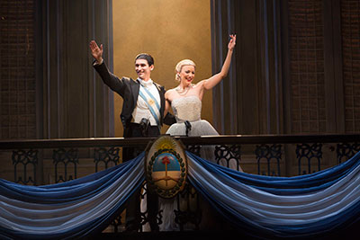 Sean MacLaughlin stars as Juan Peron and Caroline Bowman stars as Eva Peron - photo by Richard Termine.