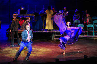 Kenny Williams and Christa Oliver in The Gospel at Colonus.  Photo by Kirk Tuck.