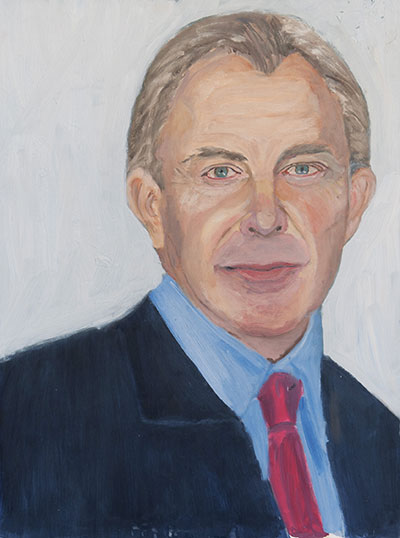 George W. Bush, Tony Blair. Photo by Grant Miller.