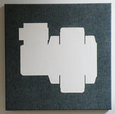 "Travis LaMothe A015, 2014 Drywall compound on linen 24""x24""x2"" Courtesy of the artist and RE Gallery"