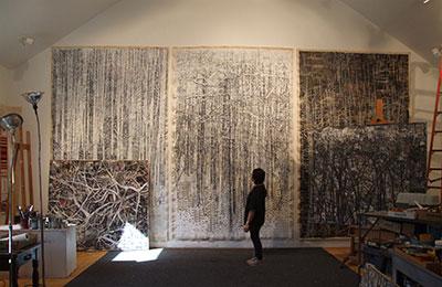 Lydia Bodnar-Balahutrak in her studio. Photo courtesy of the Beeville Art Museum.