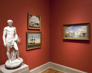 From left: William Henry Rinehart's marble Leander (modeled c. 1859, carved c. 1870); Whaling Ship Maria and Whaling Ship Pacific, both c. 1850 by an unknown American artist; and Thomas Moran's Venice (1898). Photo by Ed Pollard, Chrysler Museum of Art, Norfolk, Va.