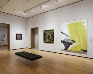 In the newly expanded and reinstalled contemporary galleries, viewers can see Franz Kline's Zinc Yellow (1959), right, alongside Hot Jazz (1940), one of his early figurative works.  Photo by Ed Pollard, Chrysler Museum of Art, Norfolk, Va.