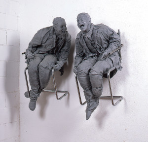 Juan Muñoz, Two Laughing at Each Other, 2000. Metal, resin, polyester, and oil. 47 x 23 x 24 inches and 47 x 25 1/2 x 25 1/2 inches. Courtesy Juan Muñoz Estate and Marian Goodman Gallery.