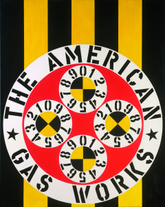 Robert Indiana, The American Gas Works, 1962. Oil on canvas. Museum Ludwig, Cologne. ©2014 Morgan Art Foundation, Artists Rights Society (ARS), New York