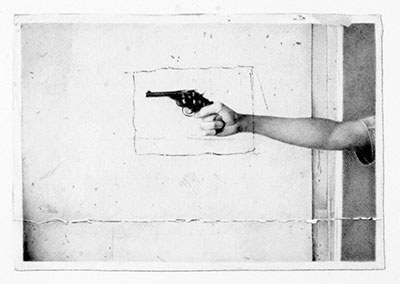 Tom Molloy Gun, 2013 Graphite on paper Courtesy of the artist and Lora Reynolds Gallery