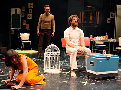 Lana Lesley, Jason Liebrecht and Thomas Graves in the Rude Mechs production of The Method Gun, Humana Festival of New American Plays, 2010, Actors Theatre of Louisville. Photo by Alan Simons.