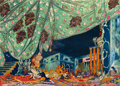 Leon Bakst, Variation of the original scene design for Schéhérazade, after 1910. Watercolor, metallic paint, and graphite on paper. Collection of the McNay Art Museum, Gift of Robert L. B. Tobin.