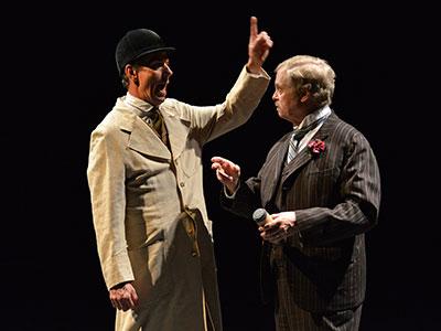 Chamblee Ferguson and  Kieran Connolly in Dallas Theater Center's Sherlock Holmes. Photo by Karen Almond.