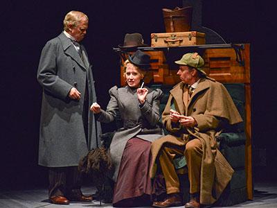 Kieran Connolly, Jessica D. Turner, Chamblee Ferguson in Dallas Theater Center's Sherlock Holmes. Photo by Karen Almond.