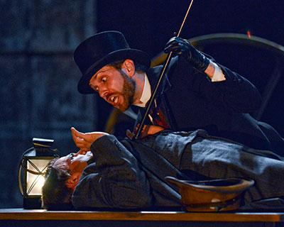 Daniel Duque-Estrada and Regan Adair in Dallas Theater Center's Sherlock Holmes. Photo by Karen Almond.