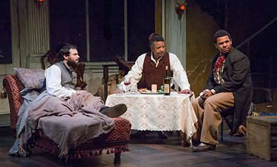 Ross Bautsch as Caleb, Shawn Hamilton as Simon and Joseph Palmore as John.  Photo by Bruce Bennett.