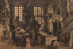 Léon-Augustin Lhermitte The Carpenter's Workshop, 1884 Charcoal on tinted paper Overall: 14 1/2 x 21 3/8 in. (36.8 x 53.3 cm) Private collection On view in Mind's Eye: Masterworks on Paper from David to Cézanne at the Dallas Museum of Art